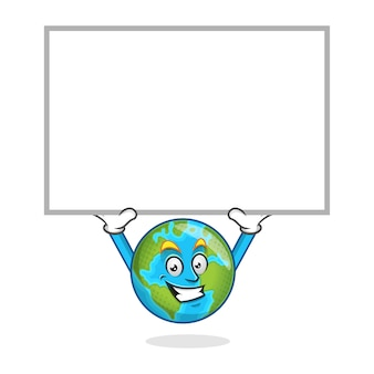 Earth mascot with blank sign, earth character