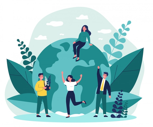 Earth, men with plants and women   illustration