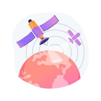 Illustrazione di vettore di concetto astratto di osservazione della terra. ingegneria spaziale, scienza planetaria, servizio satellitare, geoinformazione, osservazione della terra applicata, metafora astratta di telerilevamento.