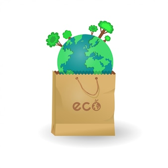 Earth in paper and plastic bags
