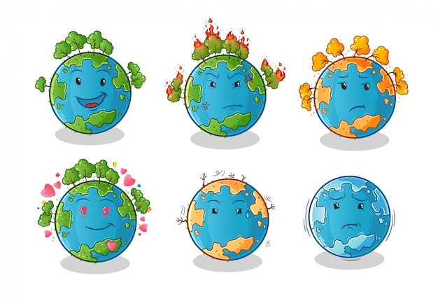 Earth planet cartoon character