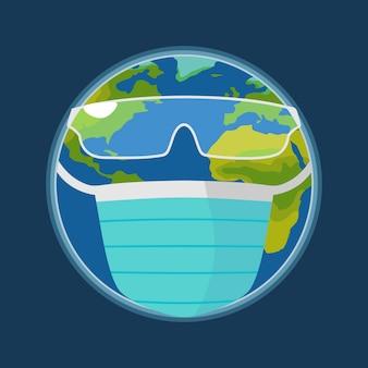 Earth planet dressed medical face mask and glasses. color flat illustration.