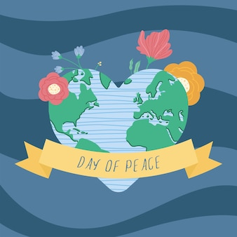 Earth planet and flowers peace emblem