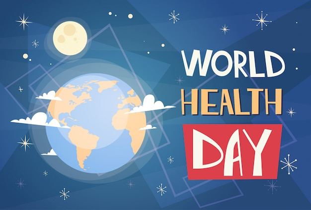 Earth planet health world day global holiday banner