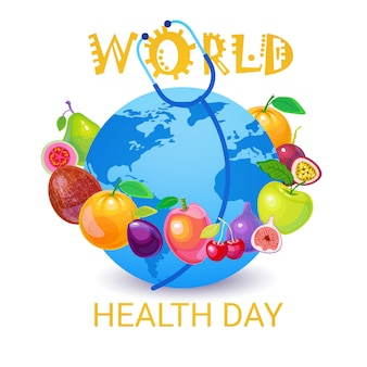 Earth planet health world day global holiday greeting card