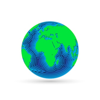 Earth planet in  paper cut .  illustration.