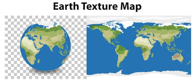 Earth planet on transparent with earth texture map