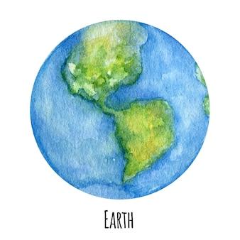 地球惑星の水彩イラスト。
