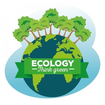 Планета земля с деревьями экологии и лентой