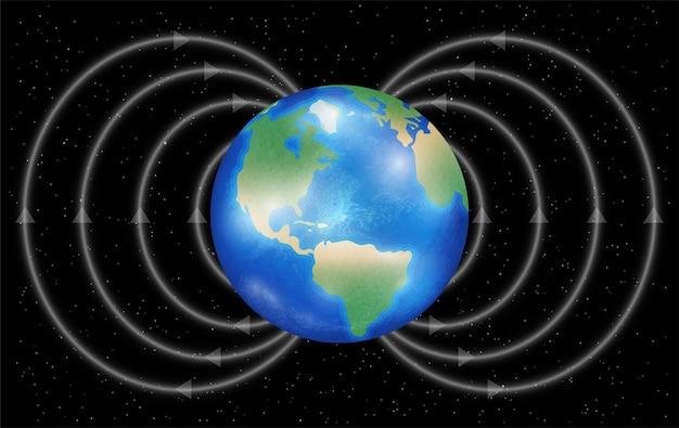 검은 배경에 자기장과 지구 행성