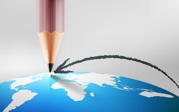 Карандашом нарисуйте линию стрелки и указывает на карту мира на планете earth.planning и концепции цели