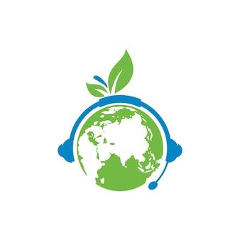 Шаблон дизайна логотипа подкаста земли