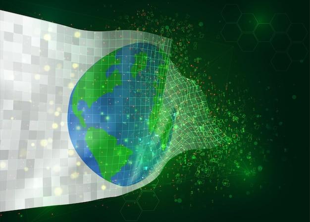 Защита земли на векторном 3d флаге на зеленом фоне с многоугольниками и номерами данных