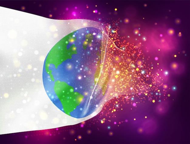 Вектор защиты земли 3d флаг на розовом фиолетовом фоне с освещением и вспышками