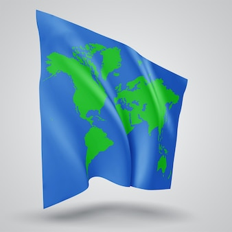 Earth protection vector flag on white background