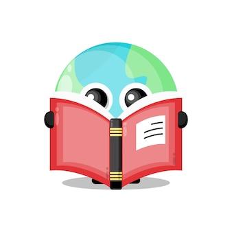 Earth reading a book cute character mascot