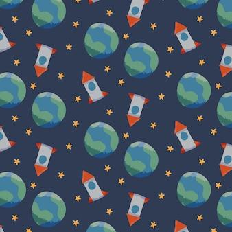 Earth rocket pattern template vector
