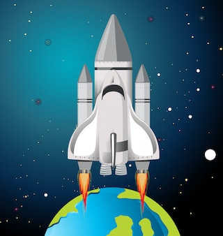 Earth and rocket scene