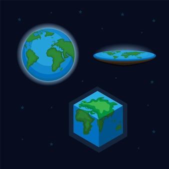 地球の丸いフラットと立方体の形のシンボルアイコンセットイラストベクトル