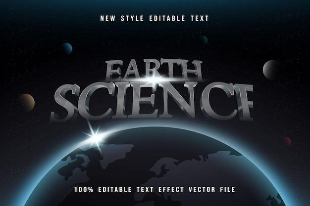 Earth science editable text effect silver style