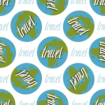 Earth seamless pattern. travel handwritten background.