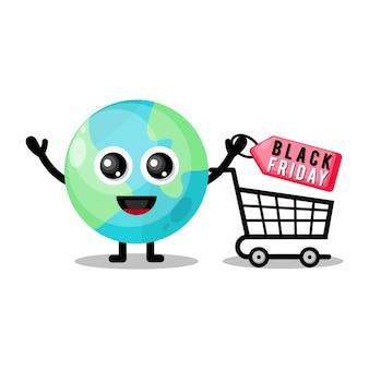 Земля шоппинг черная пятница милый персонаж талисман