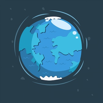Earth in space cartoon illustration.