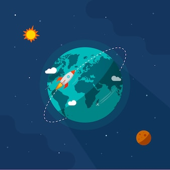 Earth in space  illustration, rocket space ship flying around planet orbit on solar system universe