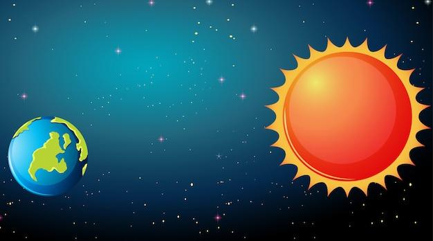 Earth and sun scene