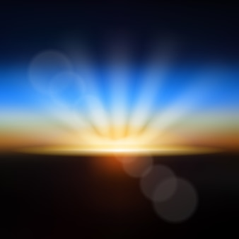 Earth sunrise blurred light effect