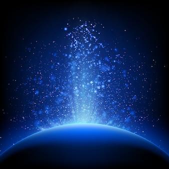 地球-深い青色の空間での日の出。
