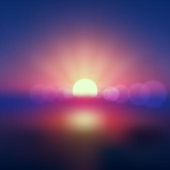 グラデーションカラーの地球日の出光の効果