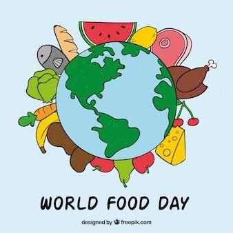 Земля, окруженная различными продуктами питания