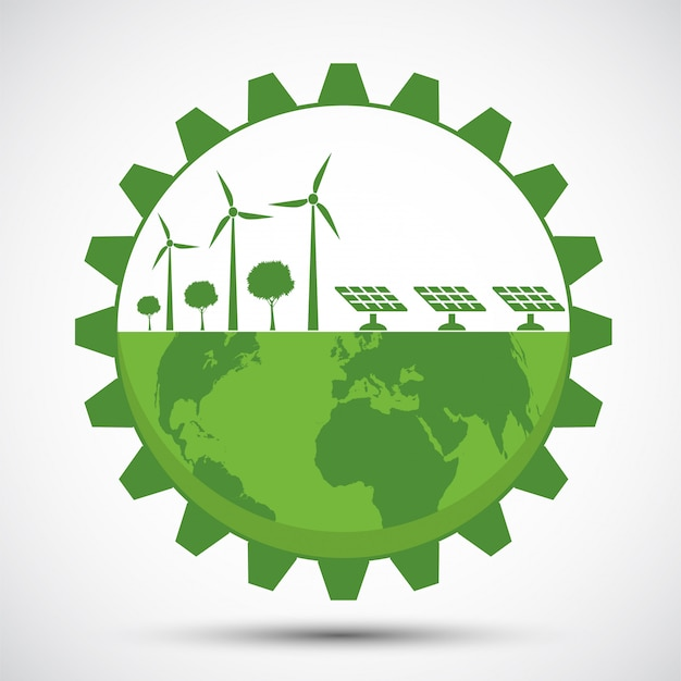도시 주변의 녹색 기어로 지구를 상징하는 친환경 아이디어로 세상을 도우십시오