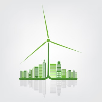 Earth symbol with green leaves around cities help the world with eco-friendly ideas