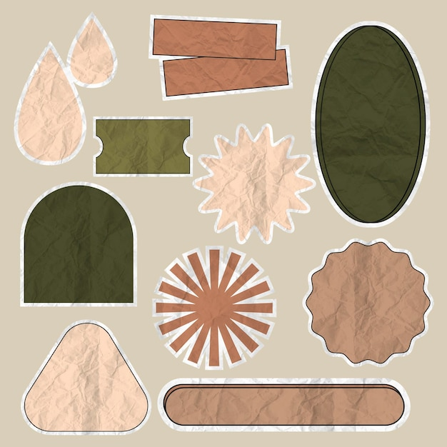 Earth tone badge vector set in crumpled paper texture