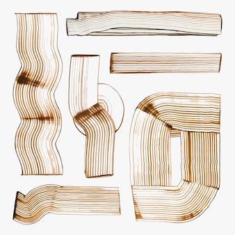 アースカラーくし塗装形状ベクトルストライプ抽象的な手作り形状実験アートセット