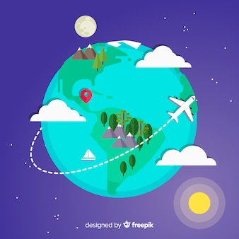 Earth travel background in flat design
