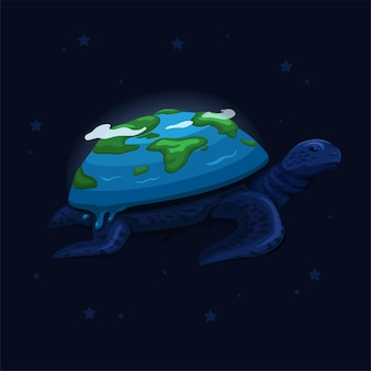 The earth on turtle back swim on space creation myth concept in cartoon illustration vector