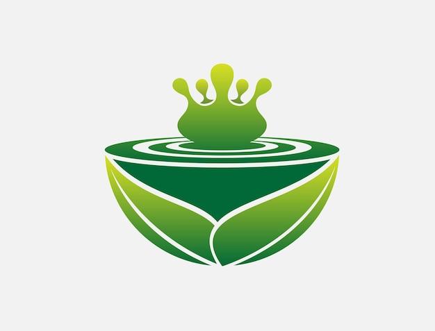 自然の生命と生存のロゴのために1つの形に結合された地球の水と植物