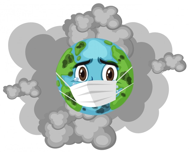 Earth wearing mask with dirty smoke