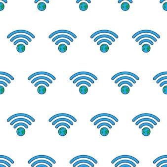 흰색 배경에 지구 와이파이 신호 원활한 패턴입니다. 글로벌 네트워크 테마 벡터 일러스트 레이 션