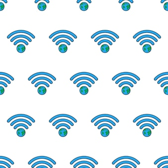 Earth wifi signal seamless pattern on a white background. global network theme vector illustration