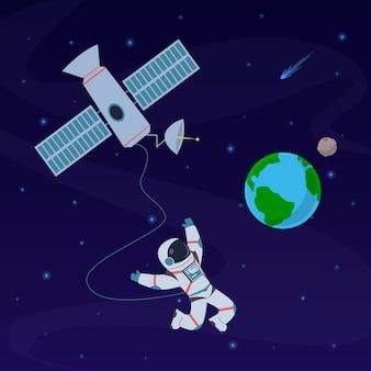 Земля с космонавтом. космонавт плывет в стратосфере около планеты земля, космический корабль.