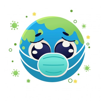 Earth with face mask anti coronavirus, character cartoon doodle illustration design