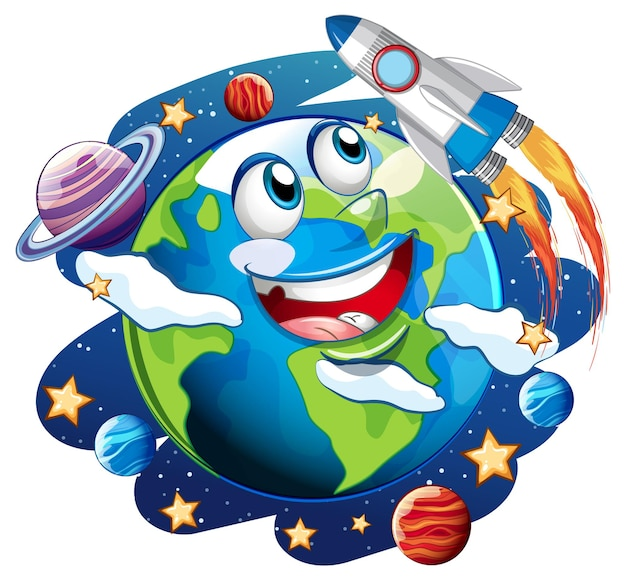 Earth with feeling face on space galaxy theme on white background
