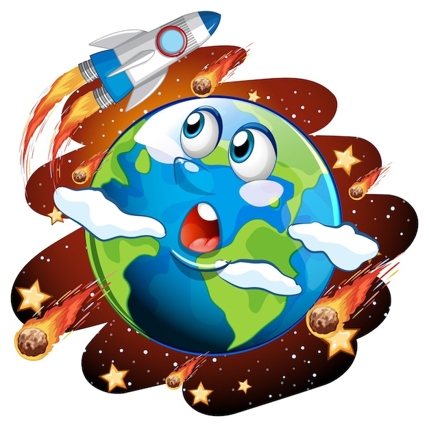 The earth with feeling face on space galaxy theme