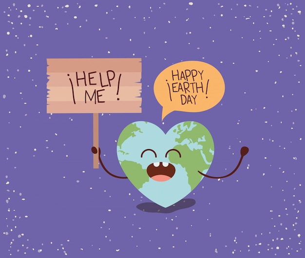 Earth with heart shape character and speech bubble protest
