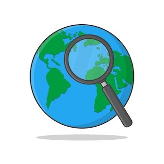 Земля с увеличительным стеклом значок иллюстрации