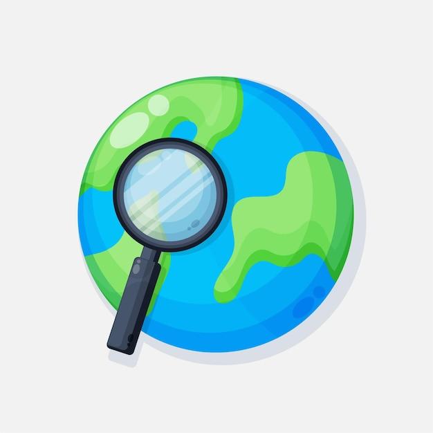 Земля со значком увеличительного стекла